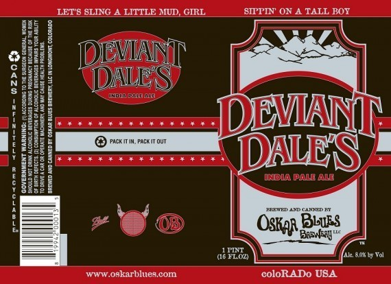 Oskar Blues Deviant Dale's beer Label Full Size