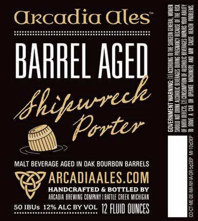Arcadia Barrel Aged Shipwreck beer Label Full Size