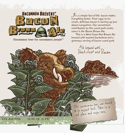 Uncommon Brewers Bacon Brown Ale beer Label Full Size