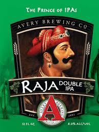 Avery Raja Double IPA beer Label Full Size
