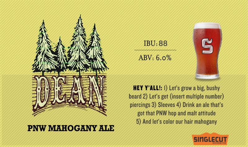 SingleCut Dean Mahogany Amber beer Label Full Size