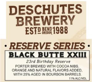 Deschutes Black Butte XXIII beer Label Full Size