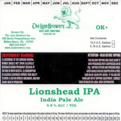 Lion's Head IPA beer Label Full Size