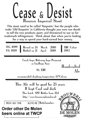 De Molen Cease & Desist beer Label Full Size
