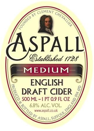 Aspall Medium English Cider beer Label Full Size