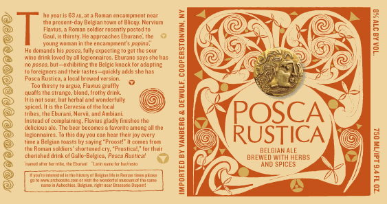 Brasserie Dupont Posca Rustica beer Label Full Size