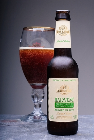 JW Lees Harvest Ale 2003 Calvado Cask beer Label Full Size