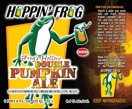 Hoppin' Frog Frog's Hollow Double Pumpkin Ale beer Label Full Size