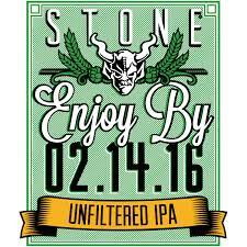 Stone Enjoy By 02.14.16 Unfiltered IPA beer Label Full Size