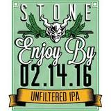 Stone Enjoy By 02.14.16 Unfiltered IPA beer