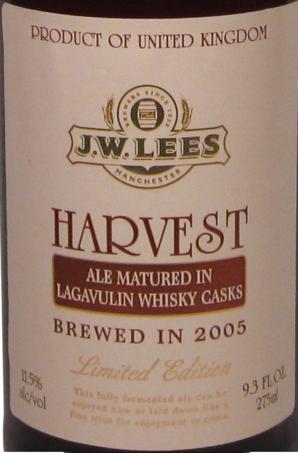 JW Lees Harvest Ale 2005 beer Label Full Size