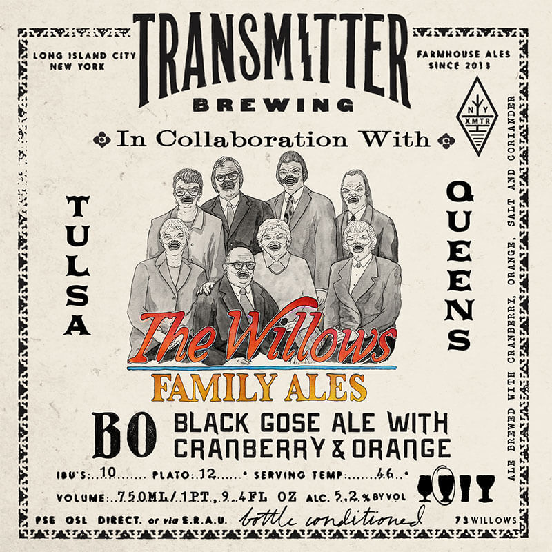 Transmitter / The Willows Family Ales B0 Black Gose beer Label Full Size