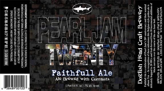 Dogfish Head Pearl Jam Twenty Faithfull Ale beer Label Full Size