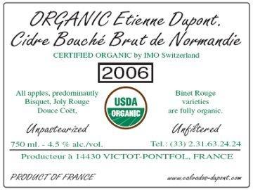 Etienne Dupont Cidre Bouche Brut de Normandie beer Label Full Size