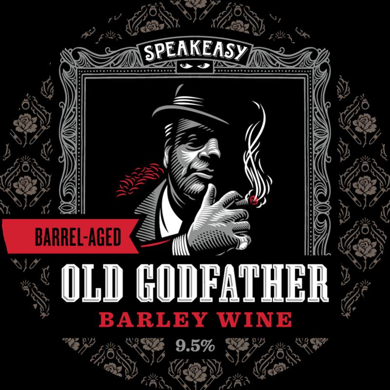 Speakeasy Barrel-Aged Old Godfather Barley Wine beer Label Full Size