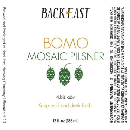 Back East BOMO Pilsner beer Label Full Size