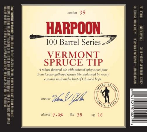 Harpoon 100 Barrel Series #39: Vermont Spruce Tip beer Label Full Size