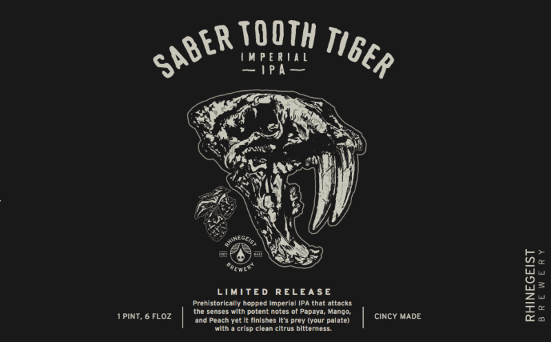 Rhinegeist Saber Tooth Tiger beer Label Full Size