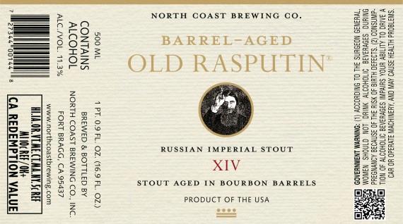 North Coast Old Rasputin 14th Anniversary beer Label Full Size