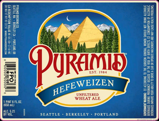Pyramid Hefeweizen beer Label Full Size