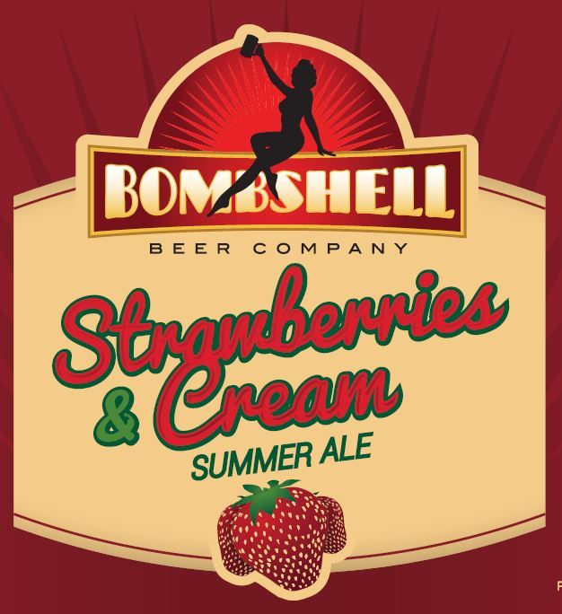 Bombshell Strawberries & Cream beer Label Full Size