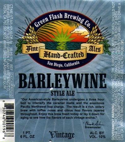 Green Flash Barleywine beer Label Full Size