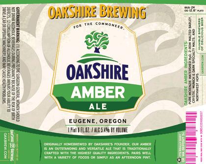 Oakshire Amber beer Label Full Size