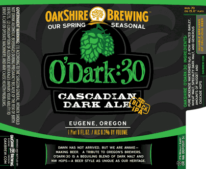 Oakshire O'Dark:30 beer Label Full Size