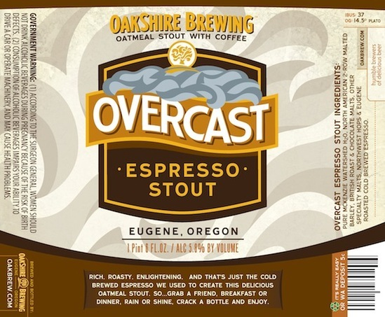 Oakshire Overcast Espresso Stout beer Label Full Size