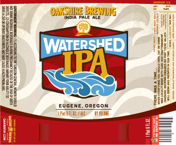 Oakshire Watershed IPA beer Label Full Size