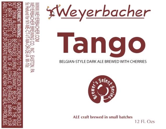 Weyerbacher Tango beer Label Full Size