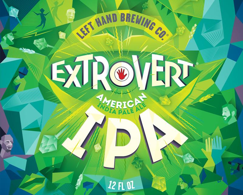 Left Hand Extrovert IPA beer Label Full Size