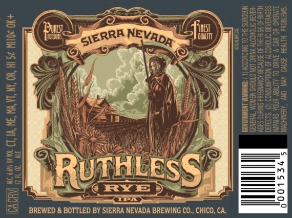 Sierra Nevada Ruthless Rye IPA beer Label Full Size