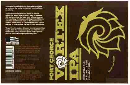 Fort George Vortex IPA beer Label Full Size
