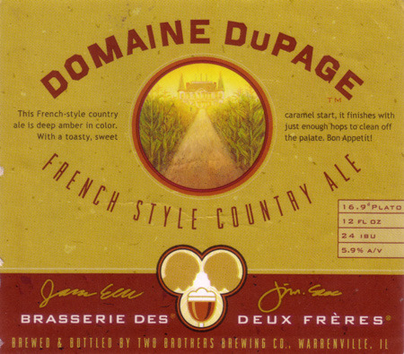 Two Brothers Domaine Dupage beer Label Full Size