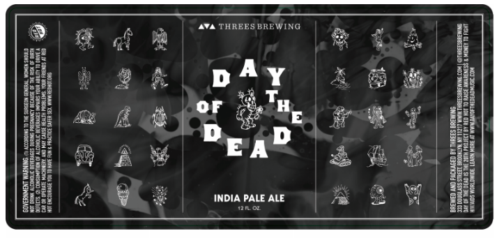 Threes Day of the Dead beer Label Full Size