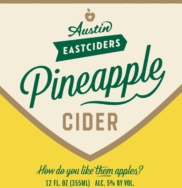 Austin Eastciders Pineapple Cider beer Label Full Size