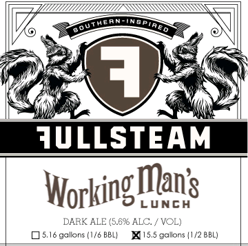 Fullsteam Working Man's Lunch beer Label Full Size