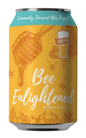 Half Full Bee Enlightened beer Label Full Size