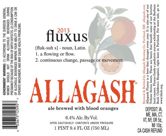 Allagash Fluxus beer Label Full Size