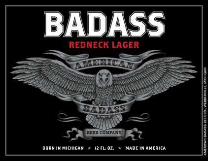 Michigan Badass American Lager beer Label Full Size