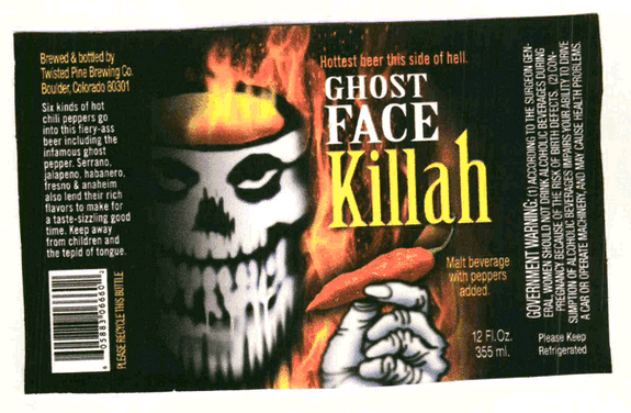 Twisted Pine Ghost Face Killah beer Label Full Size