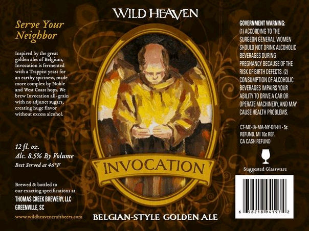 Wild Heaven Invocation beer Label Full Size