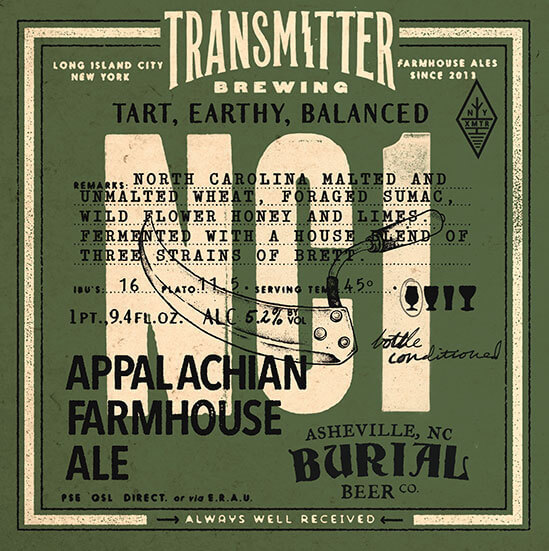 Transmitter / Burial Beer Co. NC1 Appalachian Farmhouse beer Label Full Size
