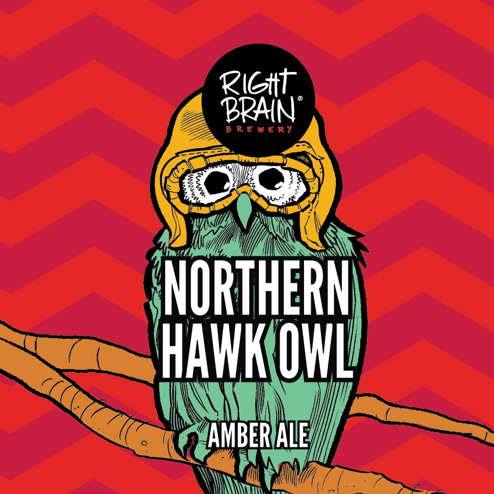 Right Brain Hawk Owl Amber beer Label Full Size