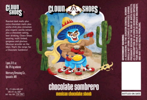 Clown Shoes Chocolate Sombrero beer Label Full Size