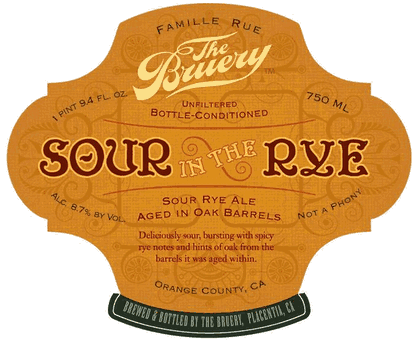 Bruery Sour In The Rye beer Label Full Size