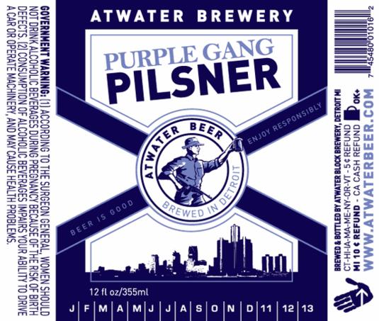 Atwater Purple Gang Pilsner beer Label Full Size