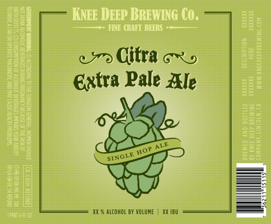 Knee Deep Citra Extra Pale Ale beer Label Full Size