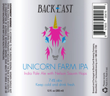 Back East Unicorn Farm IPA beer